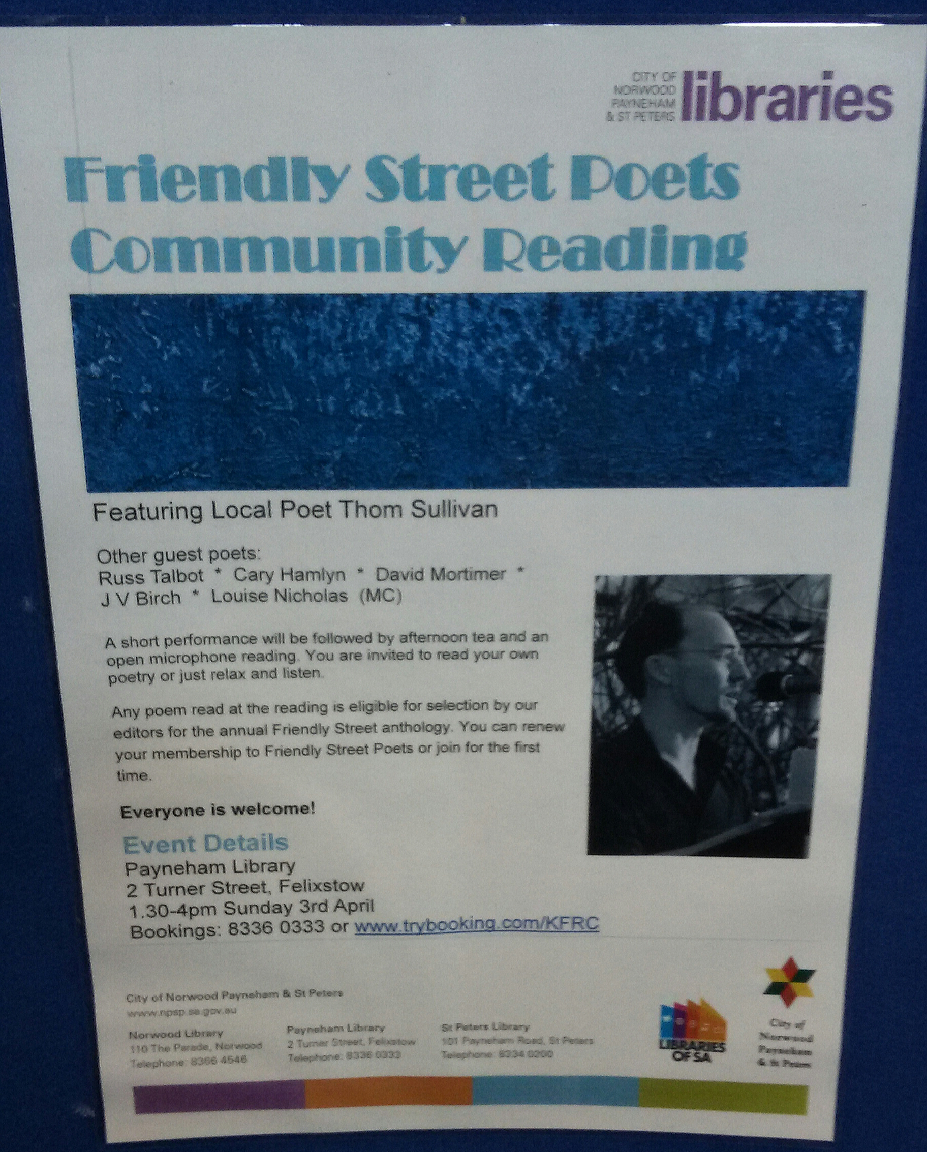 Friendly Street Poets readings | J V Birch